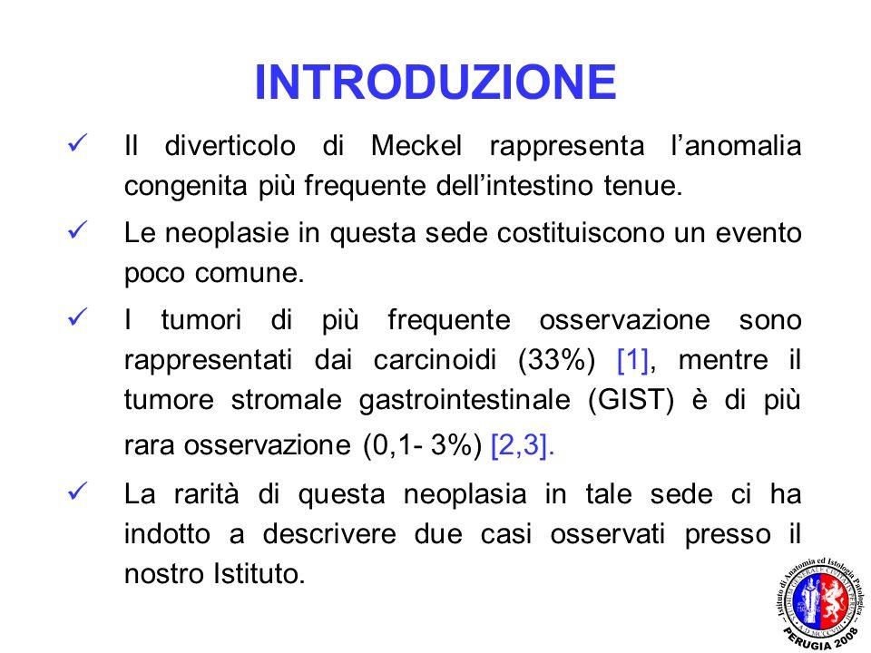 INTRODUZIONE Il diverticolo di Meckel rappresenta lanomalia congenita più frequente dellintestino tenue. Le neoplasie in questa sede costituiscono un