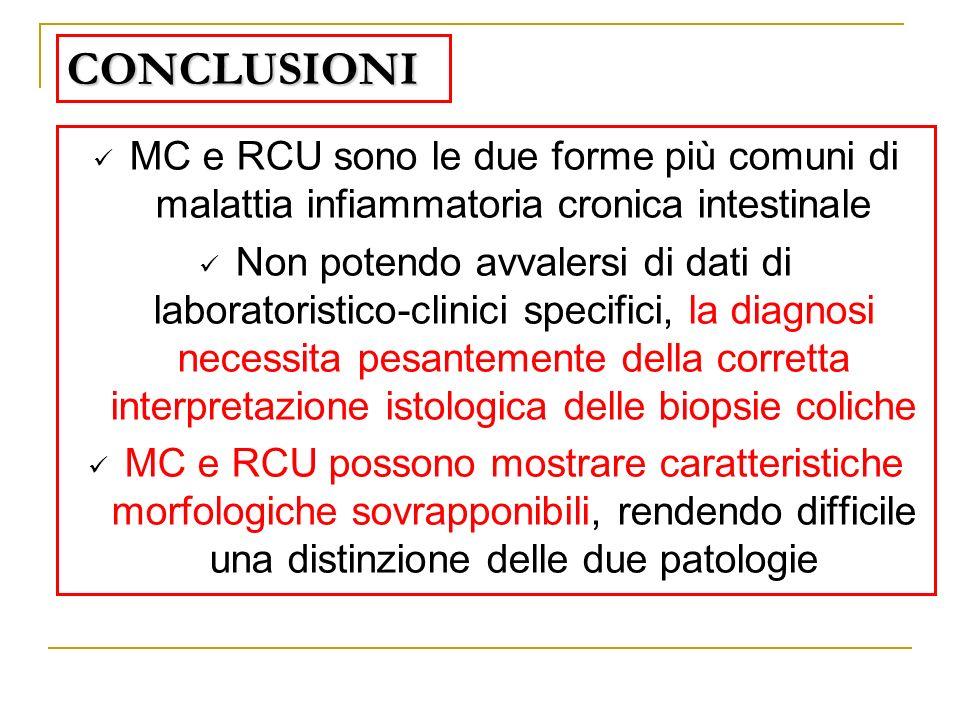 CONCLUSIONI MC e RCU sono le due forme più comuni di malattia infiammatoria cronica intestinale Non potendo avvalersi di dati di laboratoristico-clini
