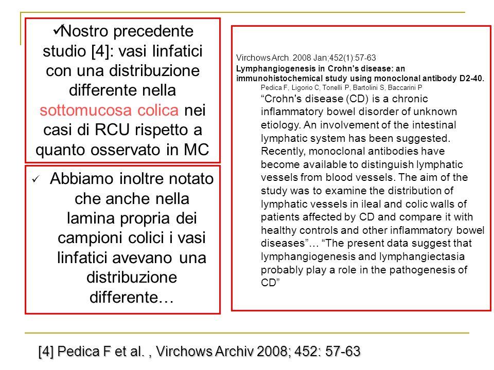 [4] Pedica F et al., Virchows Archiv 2008; 452: 57-63 Abbiamo inoltre notato che anche nella lamina propria dei campioni colici i vasi linfatici aveva
