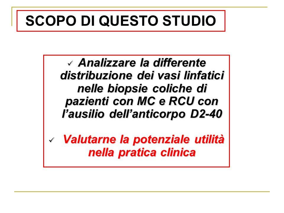 Analizzare la differente distribuzione dei vasi linfatici nelle biopsie coliche di pazienti con MC e RCU con lausilio dellanticorpo D2-40 Analizzare l
