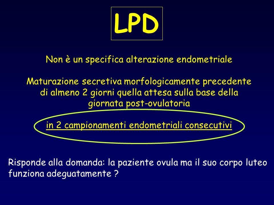 LPD Non è un specifica alterazione endometriale Maturazione secretiva morfologicamente precedente di almeno 2 giorni quella attesa sulla base della gi