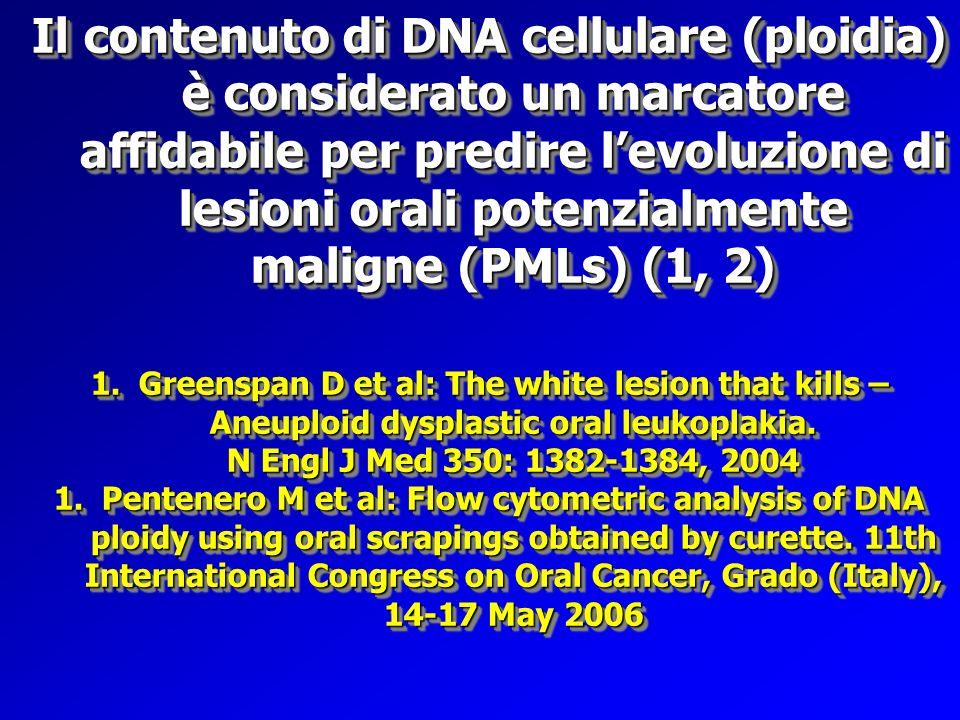 Il contenuto di DNA cellulare (ploidia) è considerato un marcatore affidabile per predire levoluzione di lesioni orali potenzialmente maligne (PMLs) (