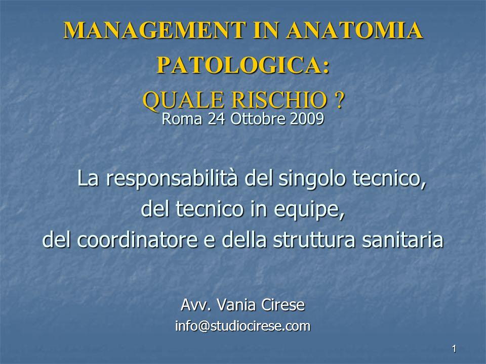 MANAGEMENT IN ANATOMIA PATOLOGICA: QUALE RISCHIO .