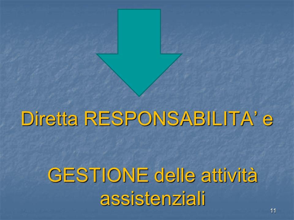 Diretta RESPONSABILITA e GESTIONE delle attività assistenziali 11