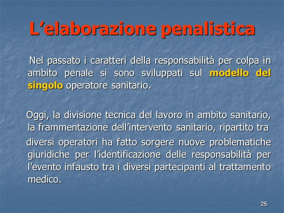 Lelaborazione penalistica Nel passato i caratteri della responsabilità per colpa in ambito penale si sono sviluppati sul modello del singolo operatore sanitario.