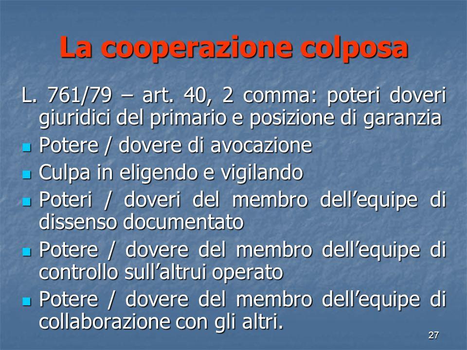 La cooperazione colposa L.761/79 – art.