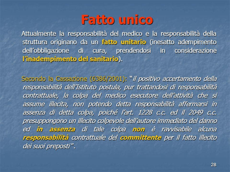 Fatto unico Fatto unico Attualmente la responsabilità del medico e la responsabilità della struttura originano da un fatto unitario (inesatto adempimento dellobbligazione di cura, prendendosi in considerazione linadempimento del sanitario).
