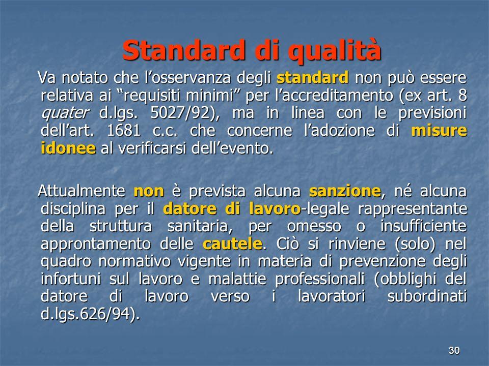 Standard di qualità Standard di qualità Va notato che losservanza degli standard non può essere relativa ai requisiti minimi per laccreditamento (ex art.