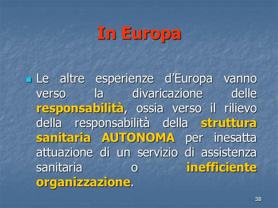 In Europa Le altre esperienze dEuropa vanno verso la divaricazione delle responsabilità, ossia verso il rilievo della responsabilità della struttura sanitaria AUTONOMA per inesatta attuazione di un servizio di assistenza sanitaria o inefficiente organizzazione.