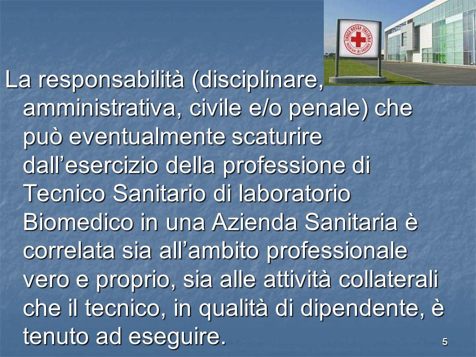 RESPONSABILITA DEL TECNICO DI LABORATORIO.