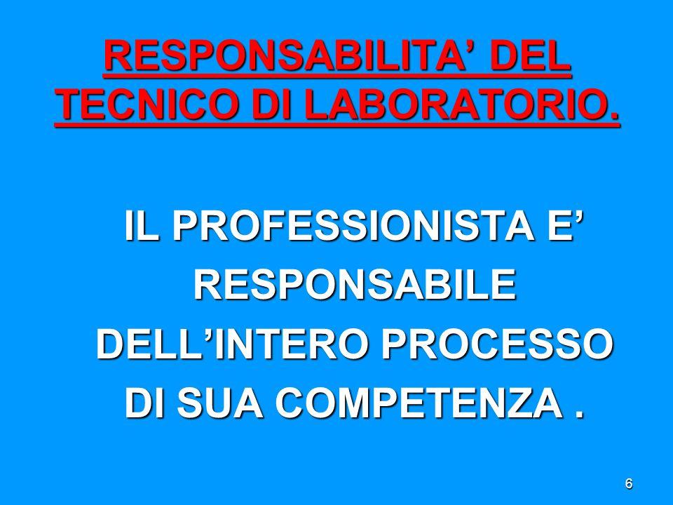 Se si pensa al laboratorio, spesso, viene presa in considerazione solo la fase analitica, in cui avviene lanalisi vera e propria del campione non considerando il fatto che il processo è costituito anche da una fase pre- analitica e una fase post-analitica.