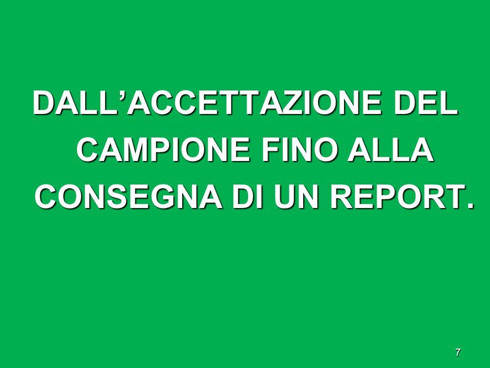 DALLACCETTAZIONE DEL CAMPIONE FINO ALLA CONSEGNA DI UN REPORT. 7