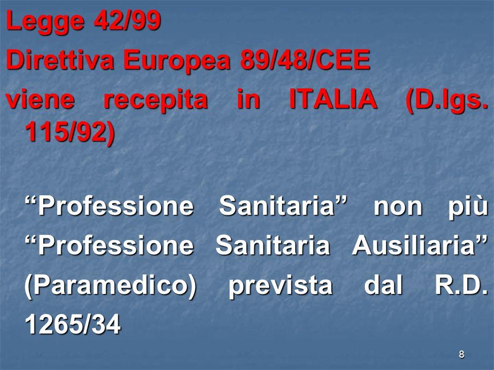 Legge 42/99 Direttiva Europea 89/48/CEE viene recepita in ITALIA (D.lgs.