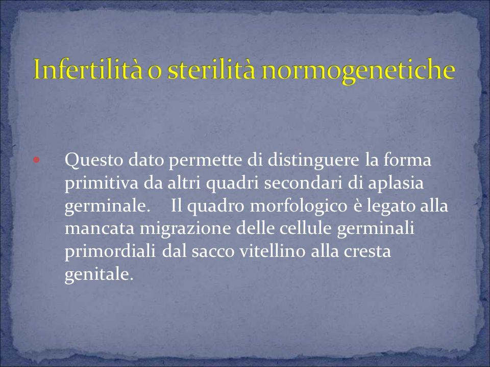 Questo dato permette di distinguere la forma primitiva da altri quadri secondari di aplasia germinale.