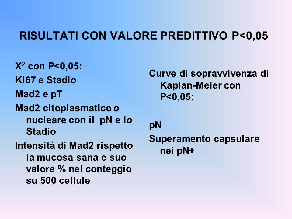 RISULTATI CON VALORE PREDITTIVO P<0,05 X 2 con P<0,05: Ki67 e Stadio Mad2 e pT Mad2 citoplasmatico o nucleare con il pN e lo Stadio Intensità di Mad2
