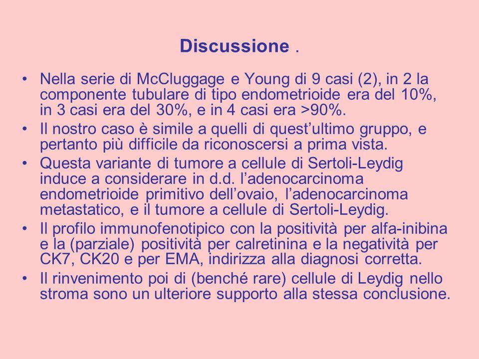 Nella serie di McCluggage e Young di 9 casi (2), in 2 la componente tubulare di tipo endometrioide era del 10%, in 3 casi era del 30%, e in 4 casi era
