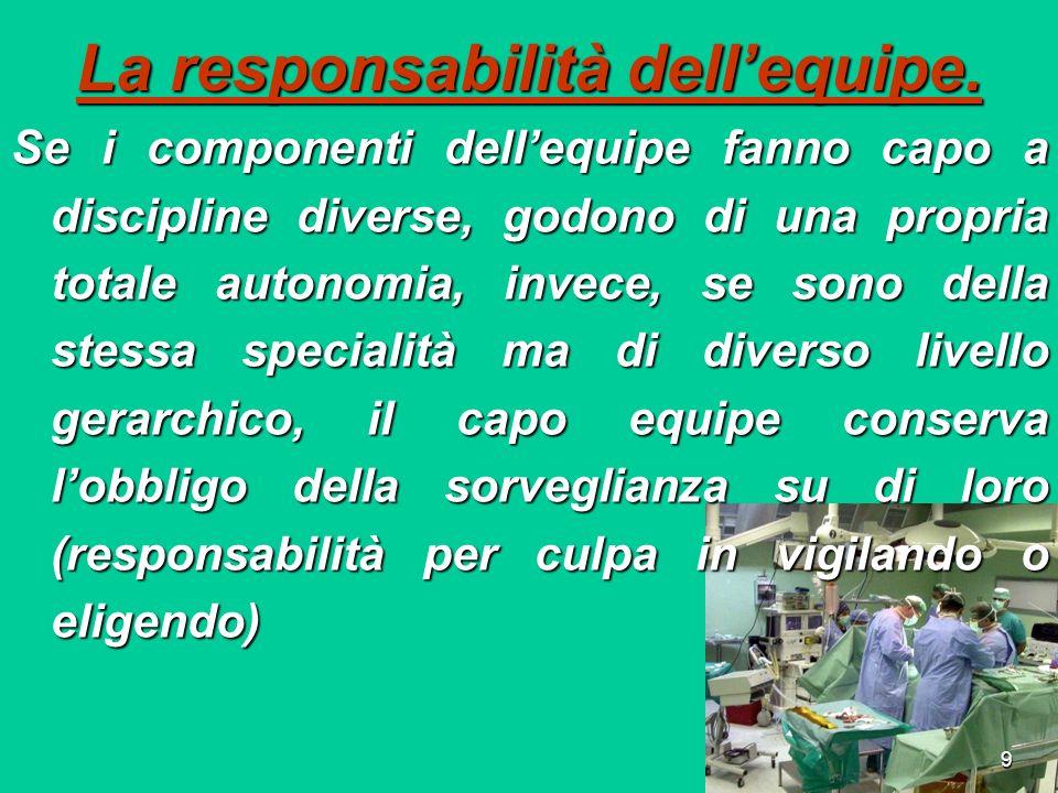 Responsabilità Quali sono(attualmente) le responsabilità per i danni da cattiva organizzazione .