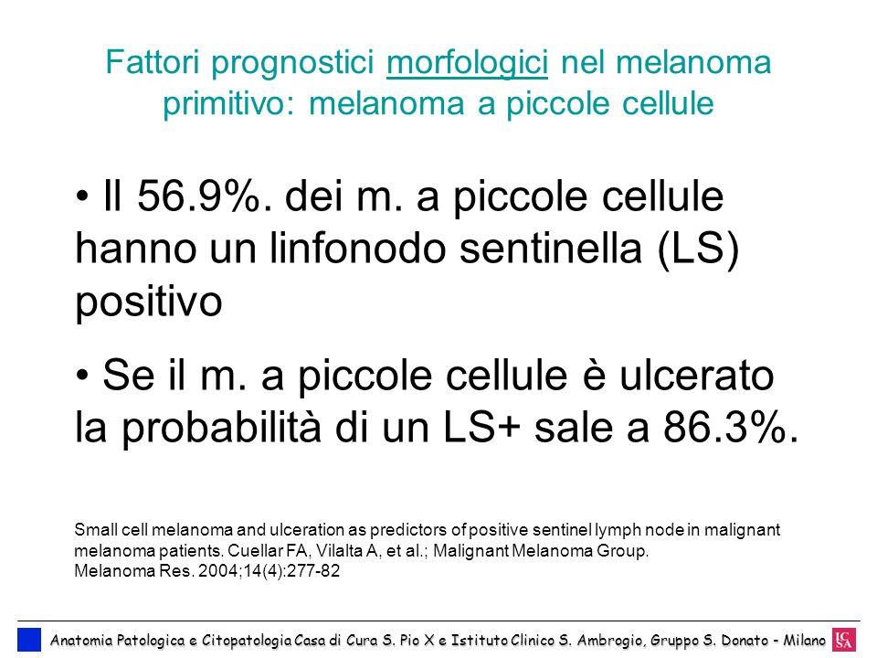 Fattori prognostici morfologici nel melanoma primitivo: melanoma a piccole cellule Anatomia Patologica e Citopatologia Casa di Cura S. Pio X e Istitut