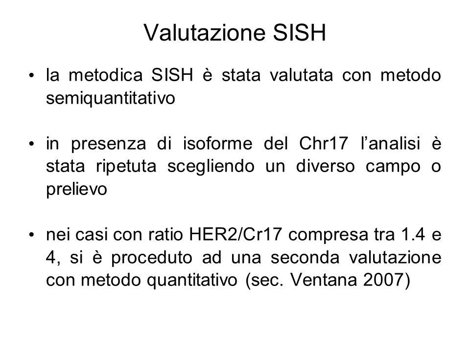 SISH per gene HER2 positiva con clusters di segnali nei nuclei delle cellule neoplastiche e SISH per cromosoma 17 (Chr17) con uno, due o tre segnali per ogni nucleo di cellula neoplastica (40x) HER2 Chr17