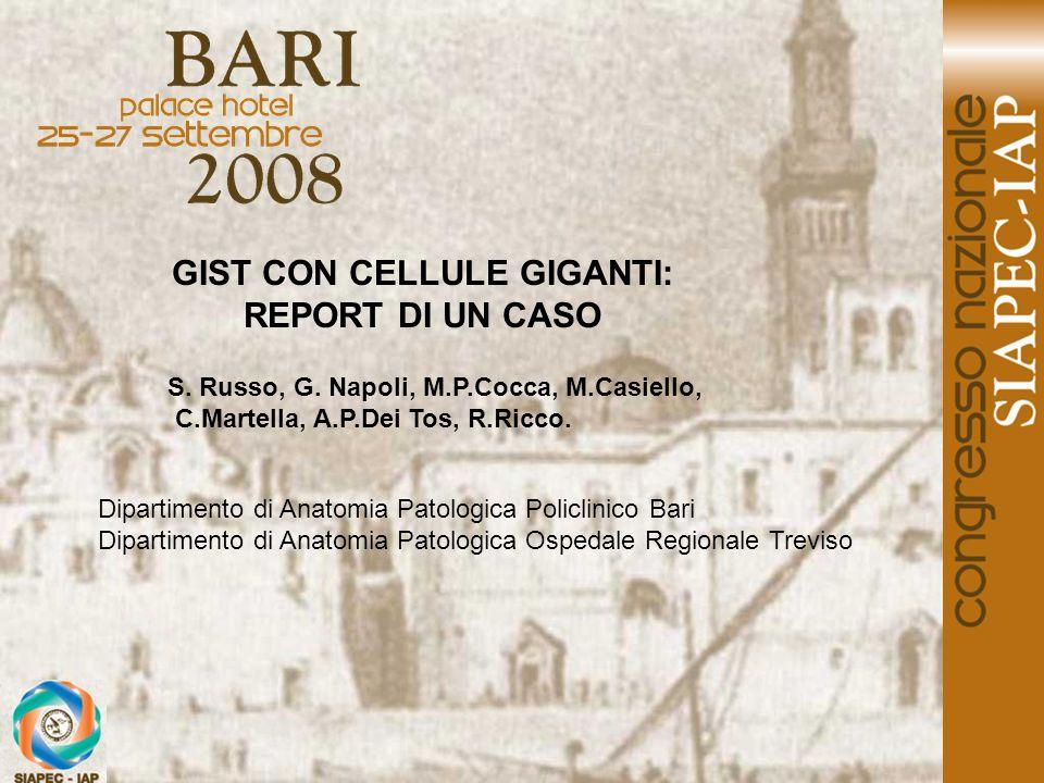 GIST CON CELLULE GIGANTI: REPORT DI UN CASO S. Russo, G. Napoli, M.P.Cocca, M.Casiello, C.Martella, A.P.Dei Tos, R.Ricco. Dipartimento di Anatomia Pat