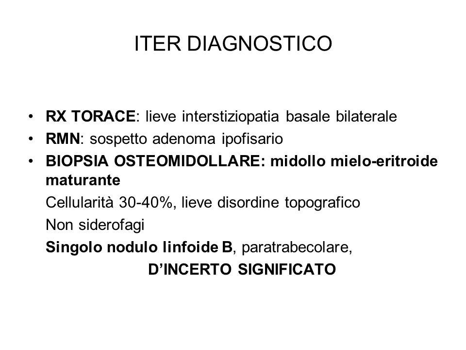 ITER DIAGNOSTICO RX TORACE: lieve interstiziopatia basale bilaterale RMN: sospetto adenoma ipofisario BIOPSIA OSTEOMIDOLLARE: midollo mielo-eritroide