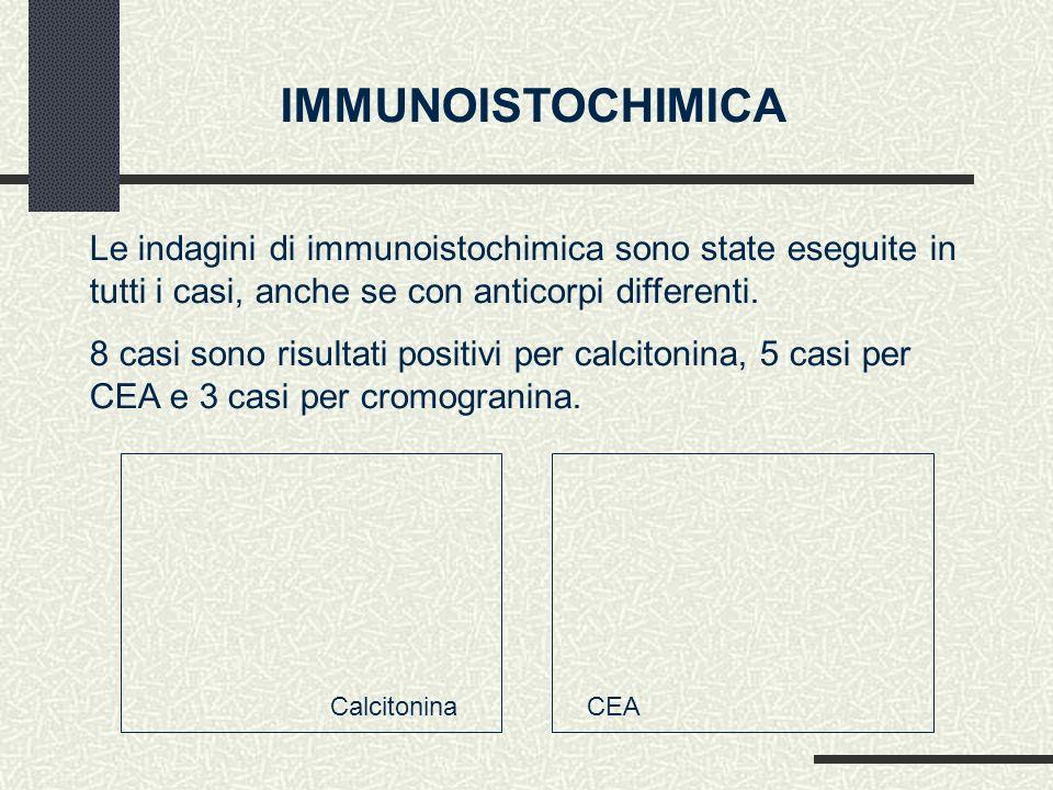 IMMUNOISTOCHIMICA Le indagini di immunoistochimica sono state eseguite in tutti i casi, anche se con anticorpi differenti.