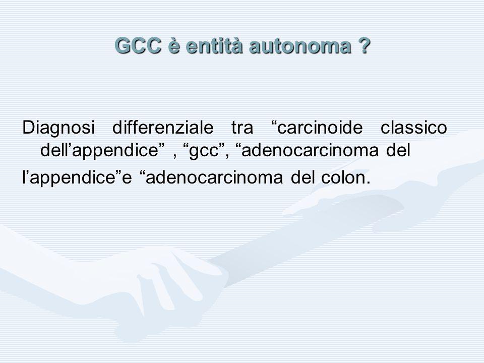 GCC è entità autonoma ? Diagnosi differenziale tra carcinoide classico dellappendice, gcc, adenocarcinoma del lappendicee adenocarcinoma del colon.