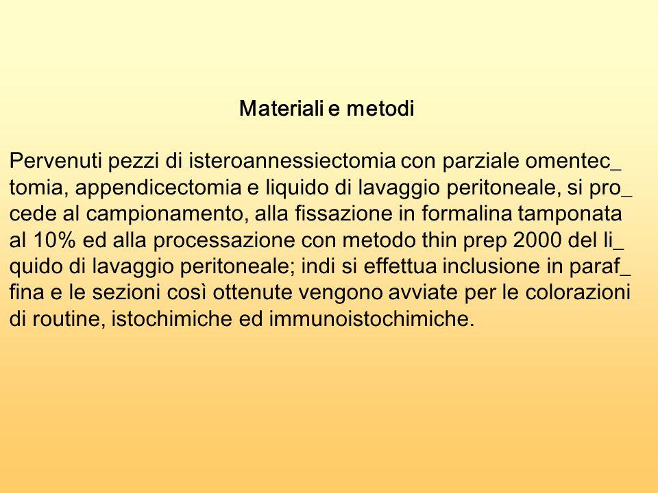 Materiali e metodi Pervenuti pezzi di isteroannessiectomia con parziale omentec_ tomia, appendicectomia e liquido di lavaggio peritoneale, si pro_ ced