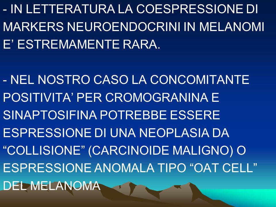 - IN LETTERATURA LA COESPRESSIONE DI MARKERS NEUROENDOCRINI IN MELANOMI E ESTREMAMENTE RARA. - NEL NOSTRO CASO LA CONCOMITANTE POSITIVITA PER CROMOGRA