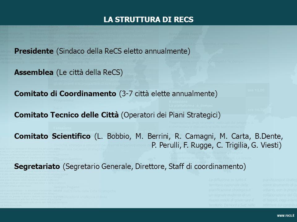 Presidente (Sindaco della ReCS eletto annualmente) Assemblea (Le città della ReCS) Comitato di Coordinamento (3-7 città elette annualmente) Comitato Tecnico delle Città (Operatori dei Piani Strategici) Comitato Scientifico (L.