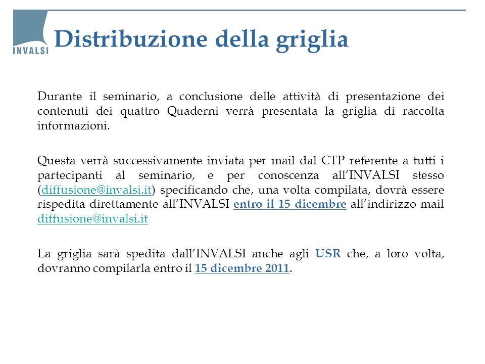 Distribuzione della griglia Durante il seminario, a conclusione delle attività di presentazione dei contenuti dei quattro Quaderni verrà presentata la
