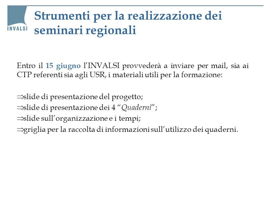 Strumenti per la realizzazione dei seminari regionali Entro il 15 giugno lINVALSI provvederà a inviare per mail, sia ai CTP referenti sia agli USR, i