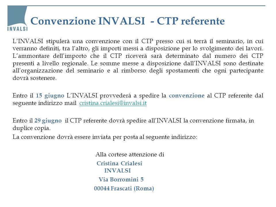 Convenzione INVALSI - CTP referente LINVALSI stipulerà una convenzione con il CTP presso cui si terrà il seminario, in cui verranno definiti, tra lalt