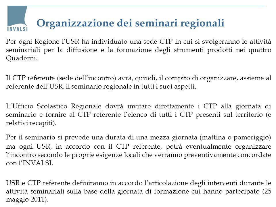 Organizzazione dei seminari regionali Per ogni Regione lUSR ha individuato una sede CTP in cui si svolgeranno le attività seminariali per la diffusion
