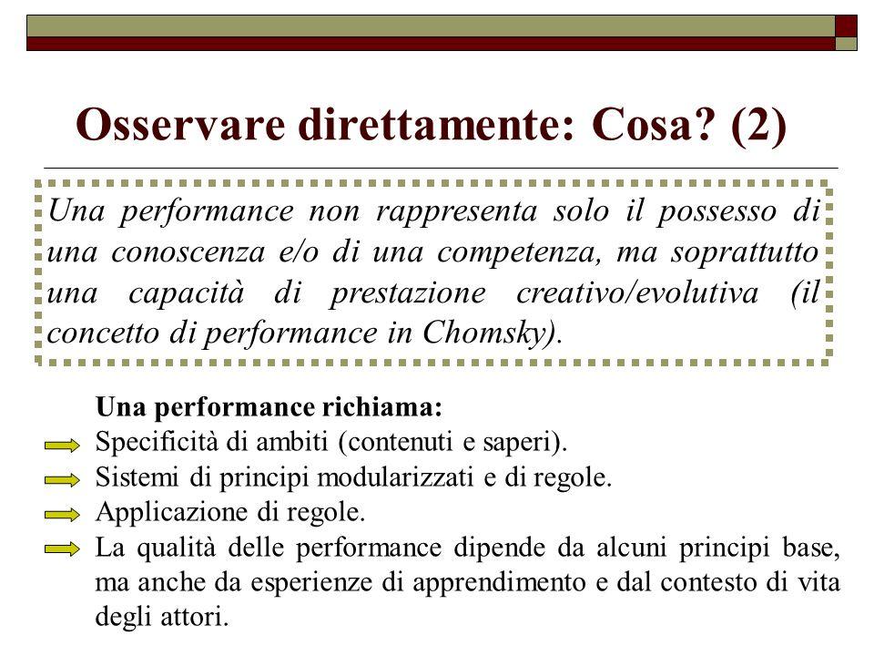 Una performance richiama: Specificità di ambiti (contenuti e saperi). Sistemi di principi modularizzati e di regole. Applicazione di regole. La qualit