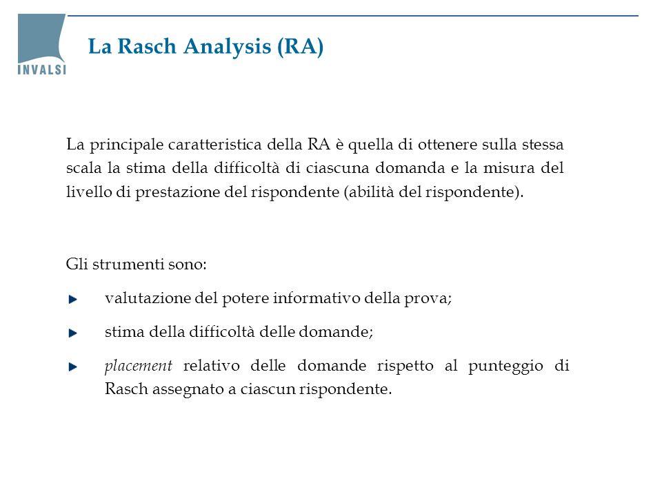 Gli strumenti sono: valutazione del potere informativo della prova; stima della difficoltà delle domande; placement relativo delle domande rispetto al