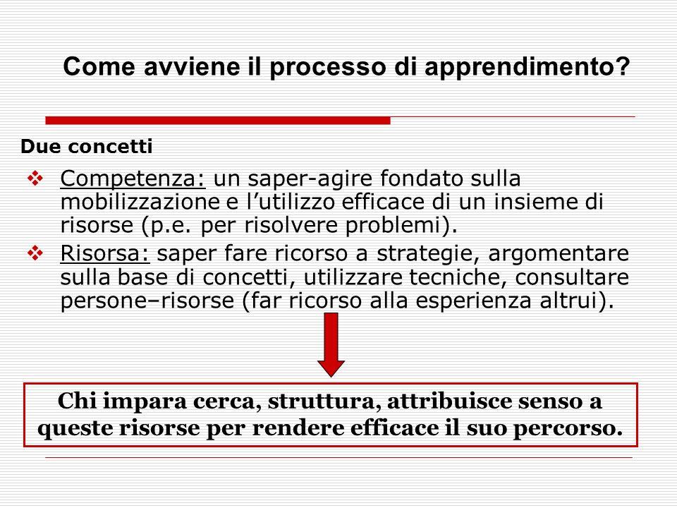 Due concetti Competenza: un saper-agire fondato sulla mobilizzazione e lutilizzo efficace di un insieme di risorse (p.e.