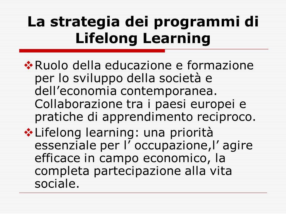 La strategia dei programmi di Lifelong Learning Ruolo della educazione e formazione per lo sviluppo della società e delleconomia contemporanea.