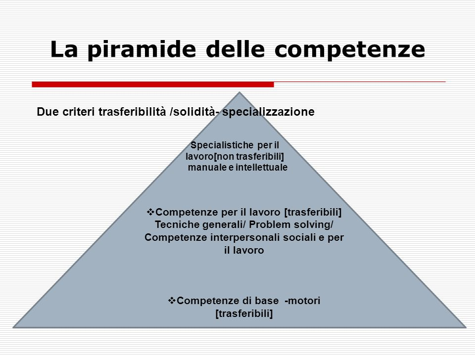 La piramide delle competenze Competenze per il lavoro [trasferibili] Tecniche generali/ Problem solving/ Competenze interpersonali sociali e per il lavoro Competenze di base -motori [trasferibili] Due criteri trasferibilità /solidità- specializzazione Specialistiche per il lavoro[non trasferibili] manuale e intellettuale