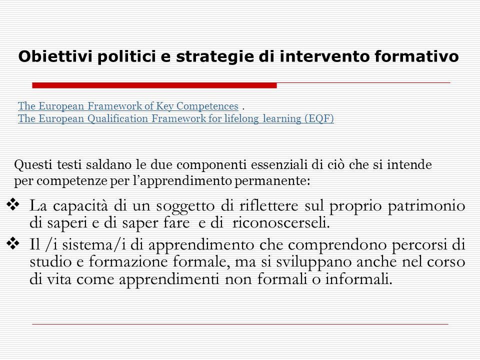Obiettivi politici e strategie di intervento formativo La capacità di un soggetto di riflettere sul proprio patrimonio di saperi e di saper fare e di riconoscerseli.