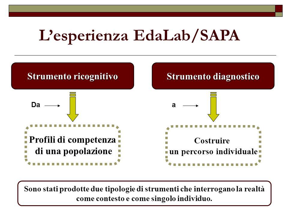 Strumento diagnostico Costruire un percorso individuale Strumento ricognitivo Profili di competenza di una popolazione Lesperienza EdaLab/SAPA Daa Son