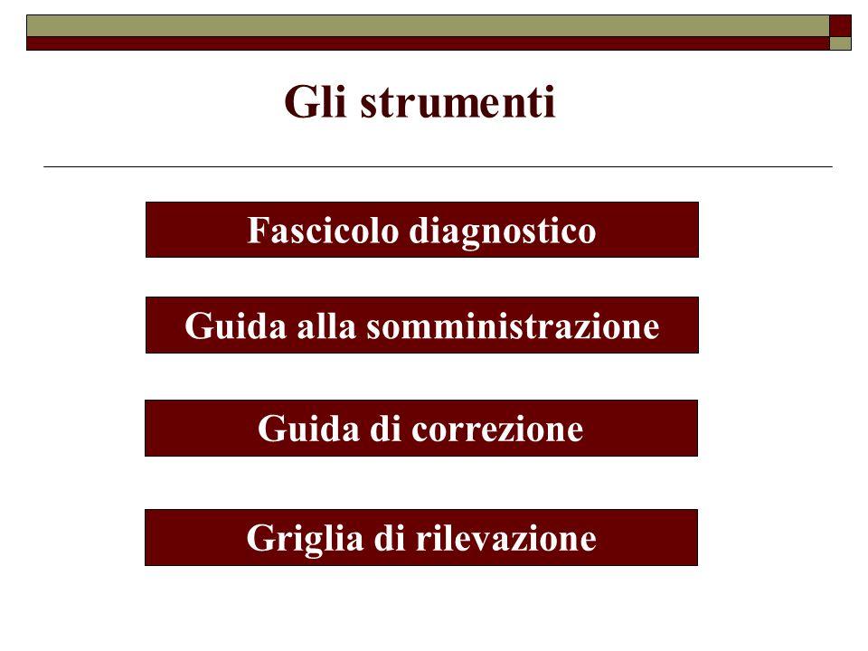 Fascicolo diagnostico Guida alla somministrazione Guida di correzione Griglia di rilevazione Gli strumenti