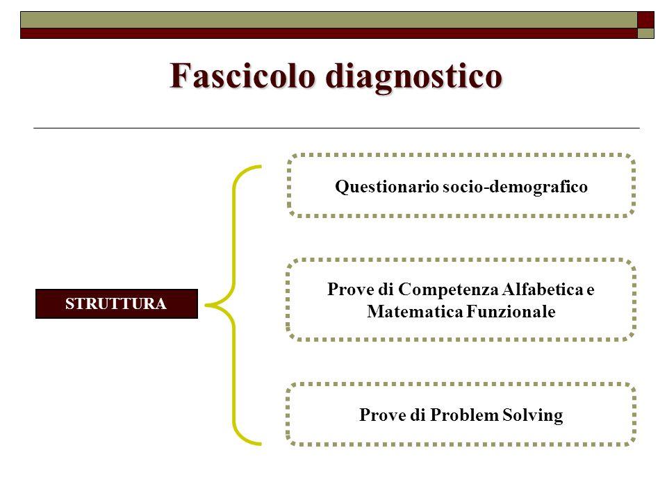 Fascicolo diagnostico Prove di Problem Solving Prove di Competenza Alfabetica e Matematica Funzionale Questionario socio-demografico STRUTTURA