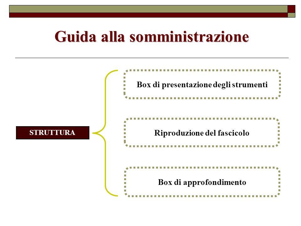 Guida alla somministrazione Box di approfondimento Riproduzione del fascicolo Box di presentazione degli strumenti STRUTTURA