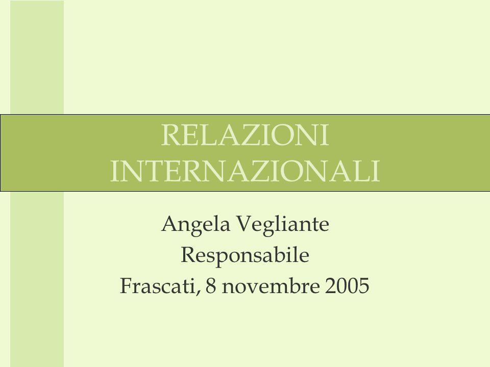 RELAZIONI INTERNAZIONALI Angela Vegliante Responsabile Frascati, 8 novembre 2005
