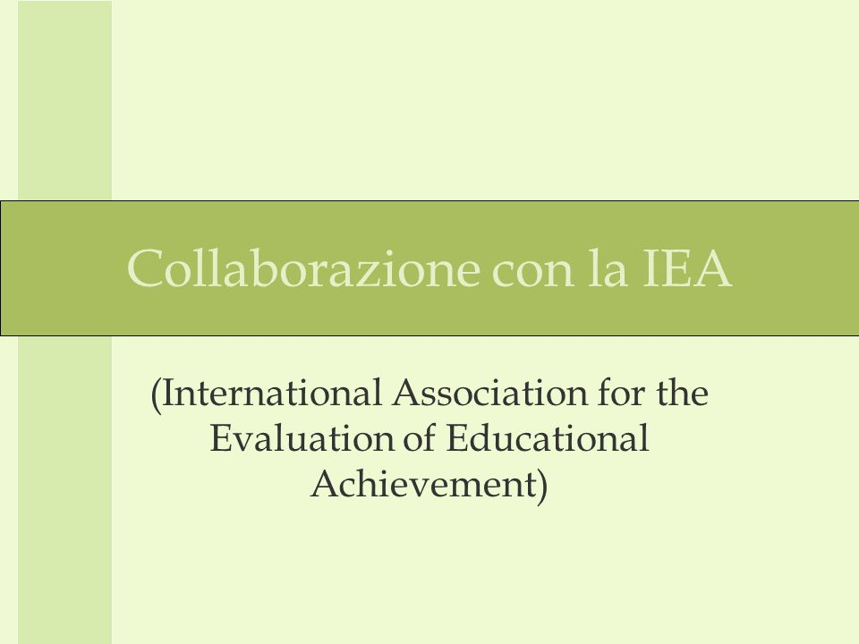 Collaborazione con la IEA (International Association for the Evaluation of Educational Achievement)