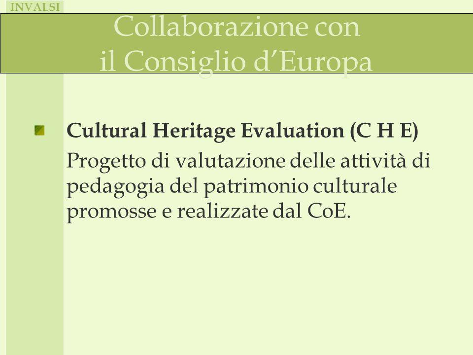 INVALSI Collaborazione con il Consiglio dEuropa Cultural Heritage Evaluation (C H E) Progetto di valutazione delle attività di pedagogia del patrimonio culturale promosse e realizzate dal CoE.