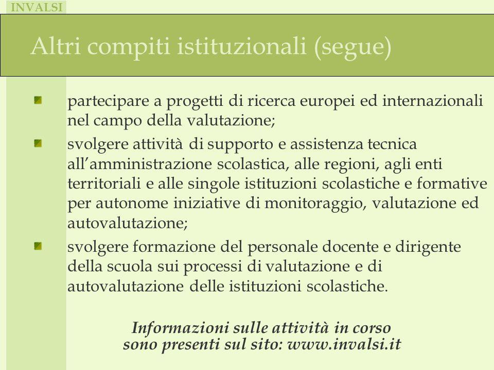INVALSI Altri compiti istituzionali (segue) partecipare a progetti di ricerca europei ed internazionali nel campo della valutazione; svolgere attività