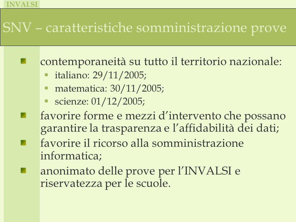 INVALSI SNV – caratteristiche somministrazione prove contemporaneità su tutto il territorio nazionale: italiano: 29/11/2005; matematica: 30/11/2005; s