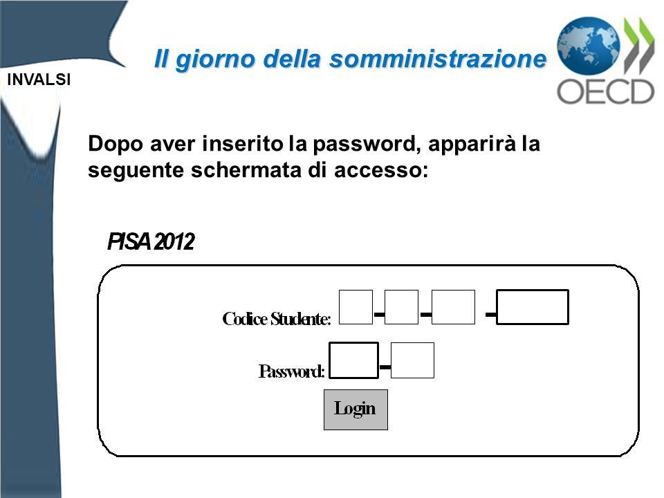 INVALSI Il giorno della somministrazione Dopo aver inserito la password, apparirà la seguente schermata di accesso:
